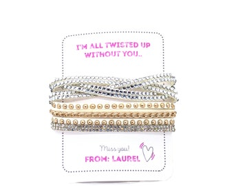 Personalized Isolation Gift, Quarantine surprise, Social Distancing Card with Rhinestone Wrap Bracelet