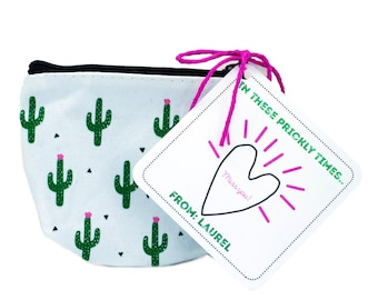 Isolation Gift, Quarantine surprise, Social Distancing Card with Cactus Coin Purse
