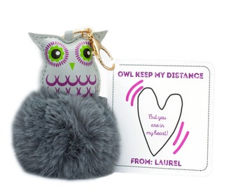 Personalized Custom Isolation Gift, Quarantine surprise, Social Distancing Card with Owl Bag Charm/Keychain