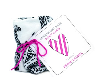 Personalized Isolation Gift, Quarantine surprise, Social Distancing Card with Black and White Bandana Headband/Headwrap