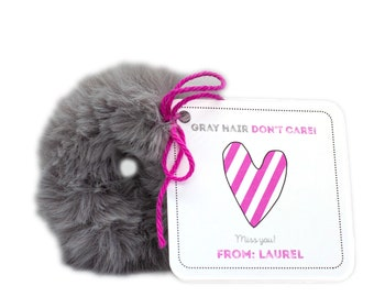 Personalized Custom Isolation Gift, Quarantine surprise, Social Distancing Card with Fuzzy Gray Scrunchie