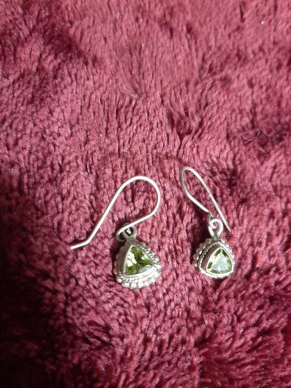 Vintage silver earrings with green stone