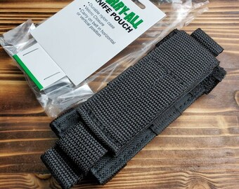 "Heavy Duty Black Nylon Folding Knife Tool Flashlight Belt Sheath Fits Up To 4 1/2"" Knife MOLLE"