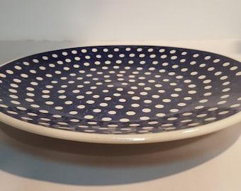 faienceware PV France polka dot dinner plate Vintage French pottery one dinner plate Orange polka dot