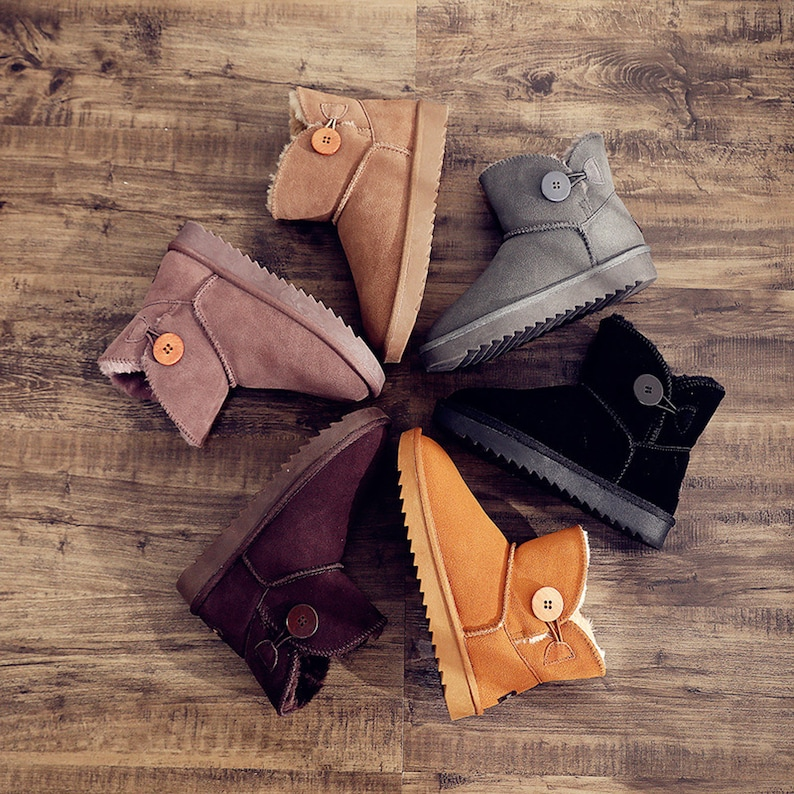 Boot Suede Womens Boots Winter Snow Boots Plush Shoes with Buttons Slippers Warm Boots Women/'s Shoes Fur Boots Ankle Boots
