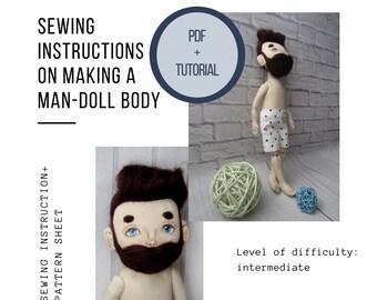 Tutorial body doll Tutorial rag doll Sewing body doll Pattern doll body Doll with beard Dollman Beardy boys Pattern rag doll Father's day