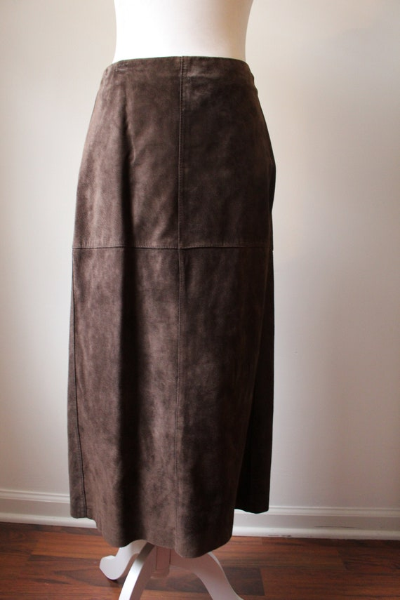 Vintage suede midi skirt
