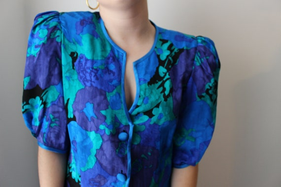 Vintage 80's floral puff sleeve dress