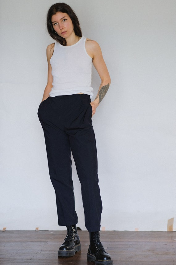Vintage 90s black high waisted trouser | cropped p