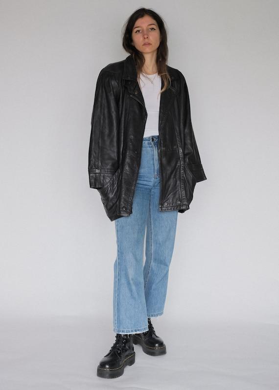 Vintage 90s oversized black leather jacket   minim