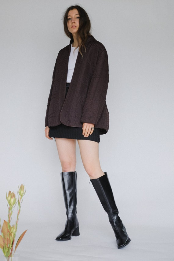Vintage brown embroidered quilted jacket   liner  