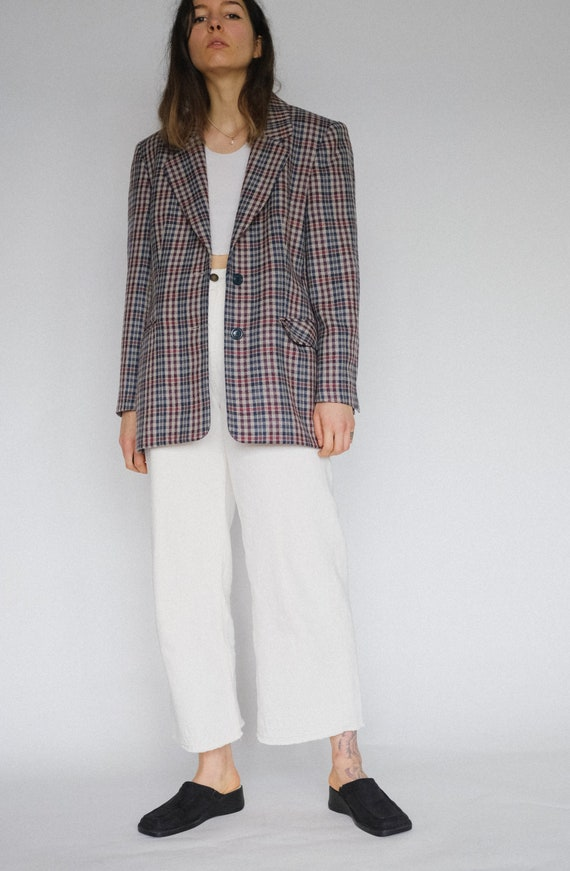 Vintage oversized plaid 90s woollen blazer | two p