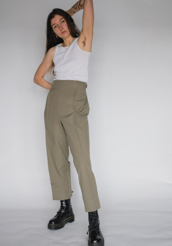 Vintage sage green straight line trousers | Cigare
