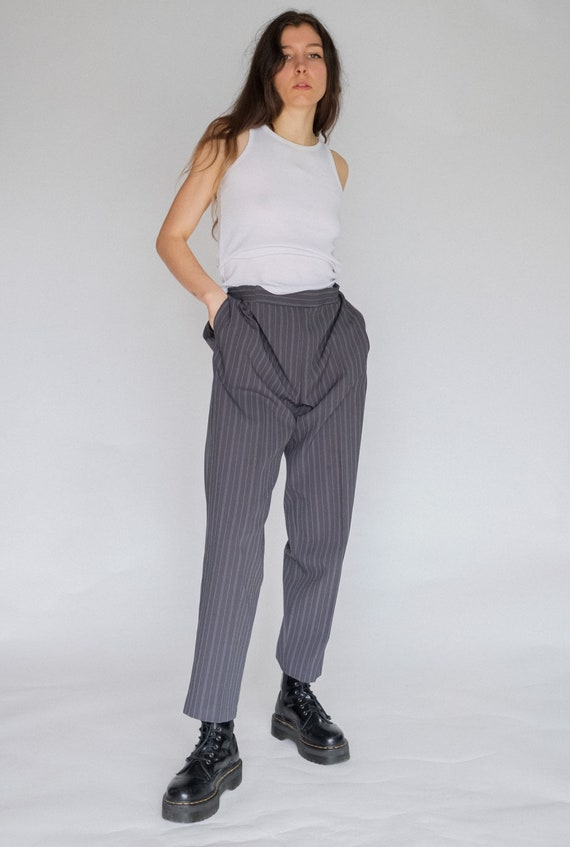 Vintage 90s grey pinstripe high waisted trouser |