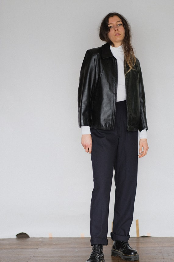 Vintage navy high waisted trousers | cigarette pan