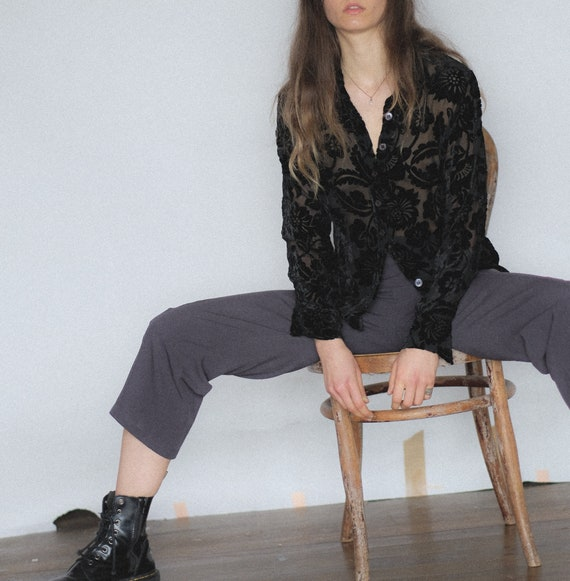Vintage 90s grey cigarette pant | cropped trousers