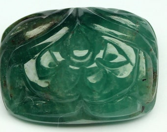 7.81 carats Carved Emerald Leaf FREE shipping in the United States. Native Cut   19 X 12 MM