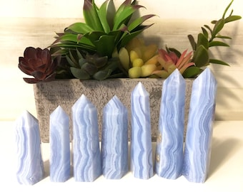 Beautiful Blue Lace Agate Points, Crystal Towers, Home Decor, Gemstone, Carved Crystal, Sky Blue
