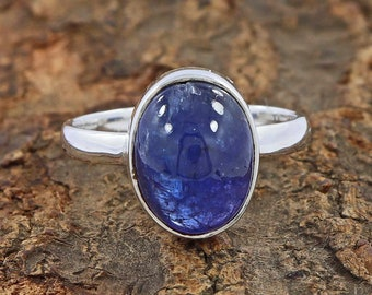 Cabochon Tanzanite Sterling Silver Rings for Women Handmade Silver jewelry for wedding party gift for her Minimal Sterling Silver Ring