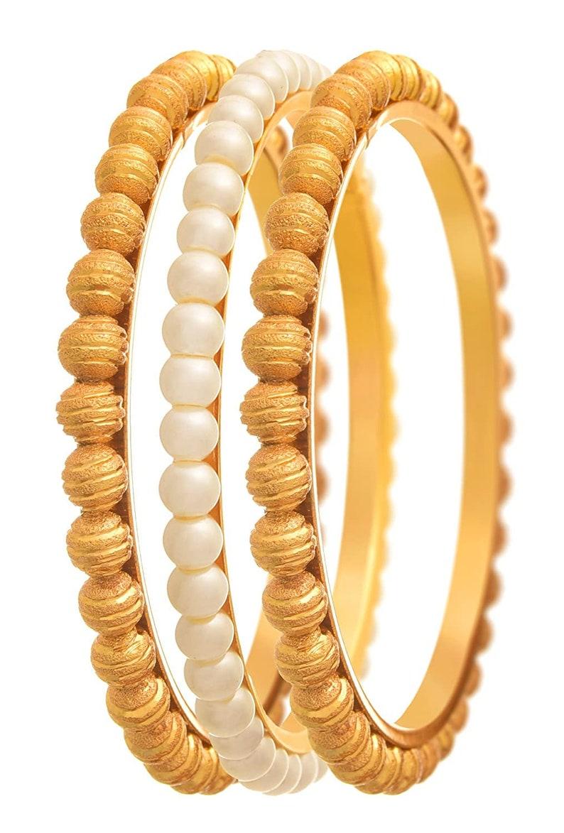 JFL Traditional Ethnic One Gram Gold Plated Golden Bead /& Pearl Designer Bangle Set for Women and Girls