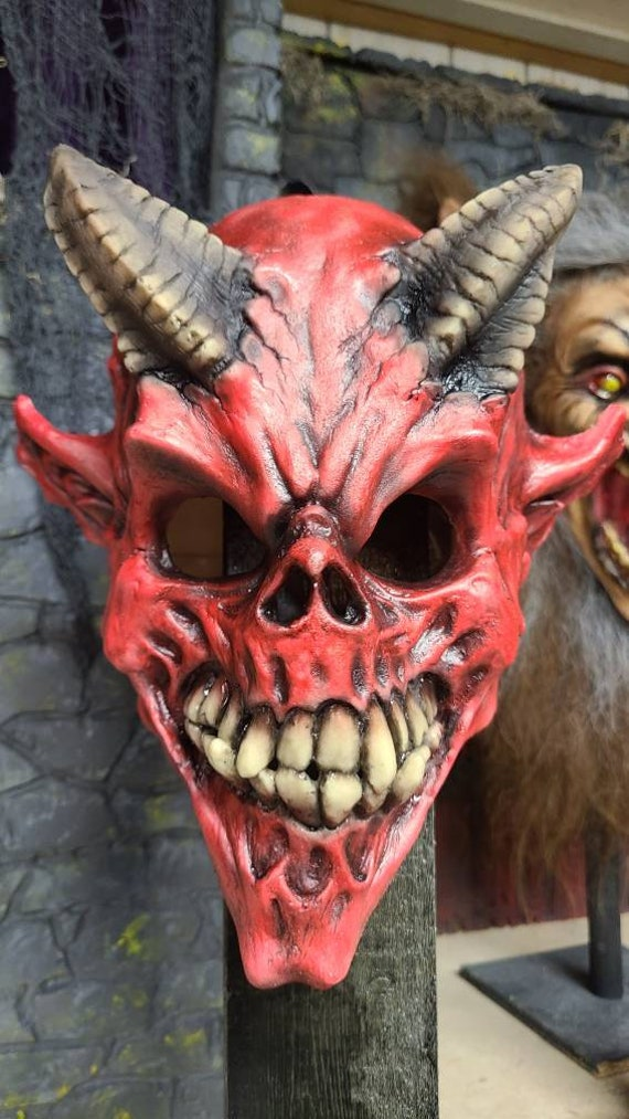 Red Devil Demon Skull latex mask.
