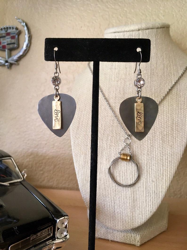 GuitarLove Stainless Steel Guitar Pick earrings