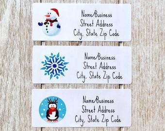Shabby Snowflake CUSTOM Christmas Address Labels or Stickers