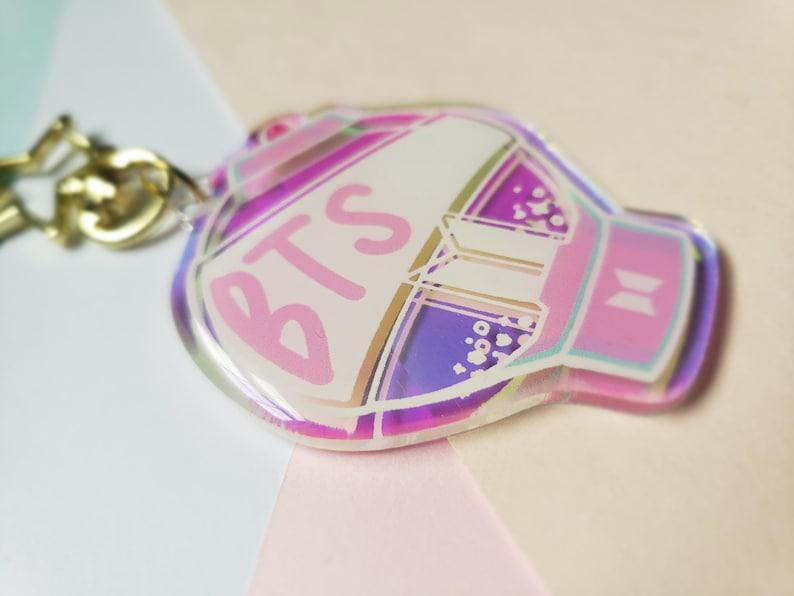 BTS Lightstick Keychain Army Bomb Holo Rainbow Acrylic Charm BTS Lightstick Charm