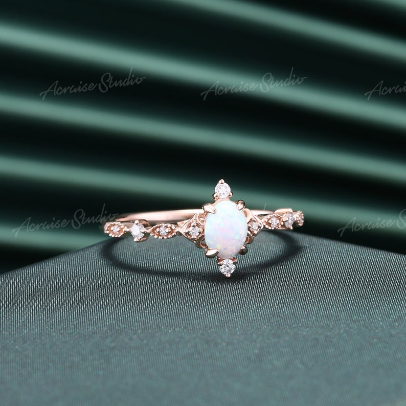 Vintage Opal Engagement Ring Rose Gold Oval Cut Opal Wedding Ring Art Deco Cluster MoissaniteDiamond Milgrain Promise Ring Anniversary Gift