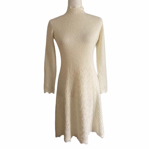 1970's St. John Crochet Knit High Neck Dress - image 1