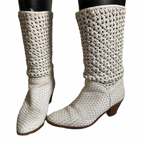 Vintage 80's Julianelli Woven Leather Boots