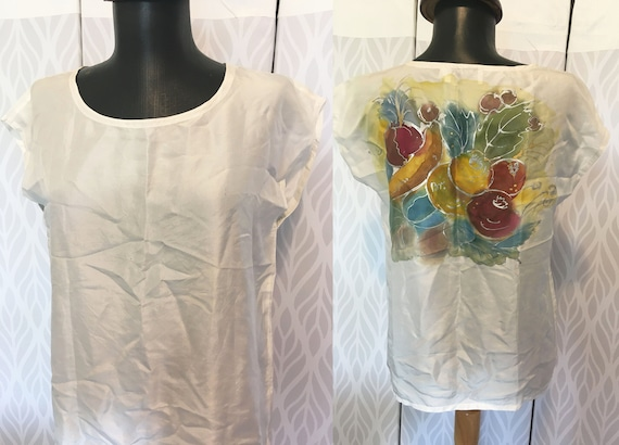 80s Hand Painted Silk blouse