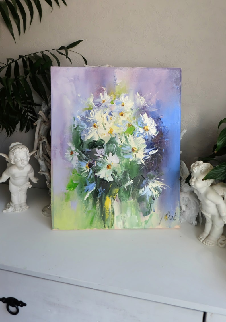 Flowers Daisies Wall Art Impasto Art Daisies Original OIl Painting on Stretched Canvas