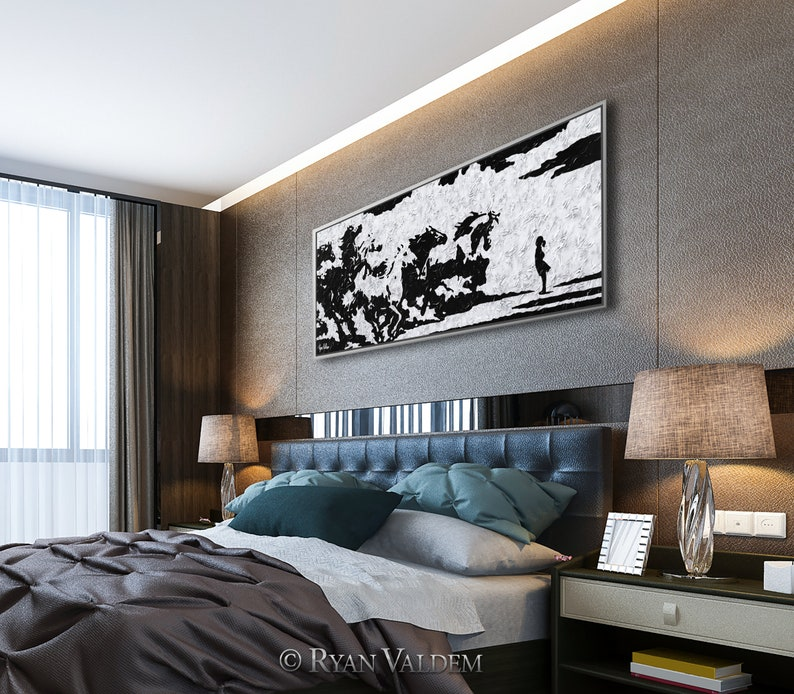 Heavy Texture Herd of Horses Express Shipping Thick Layers Art Herd vs Girl Modern Abstract Original Fearless Girl Extra Large Painting