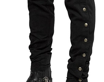 Victorian Black Equestrian Jodhpurs Steampunk Pants Breeches Cavalry Riding Trousers Polo Sports Gothic Baggy Military Officer Pants