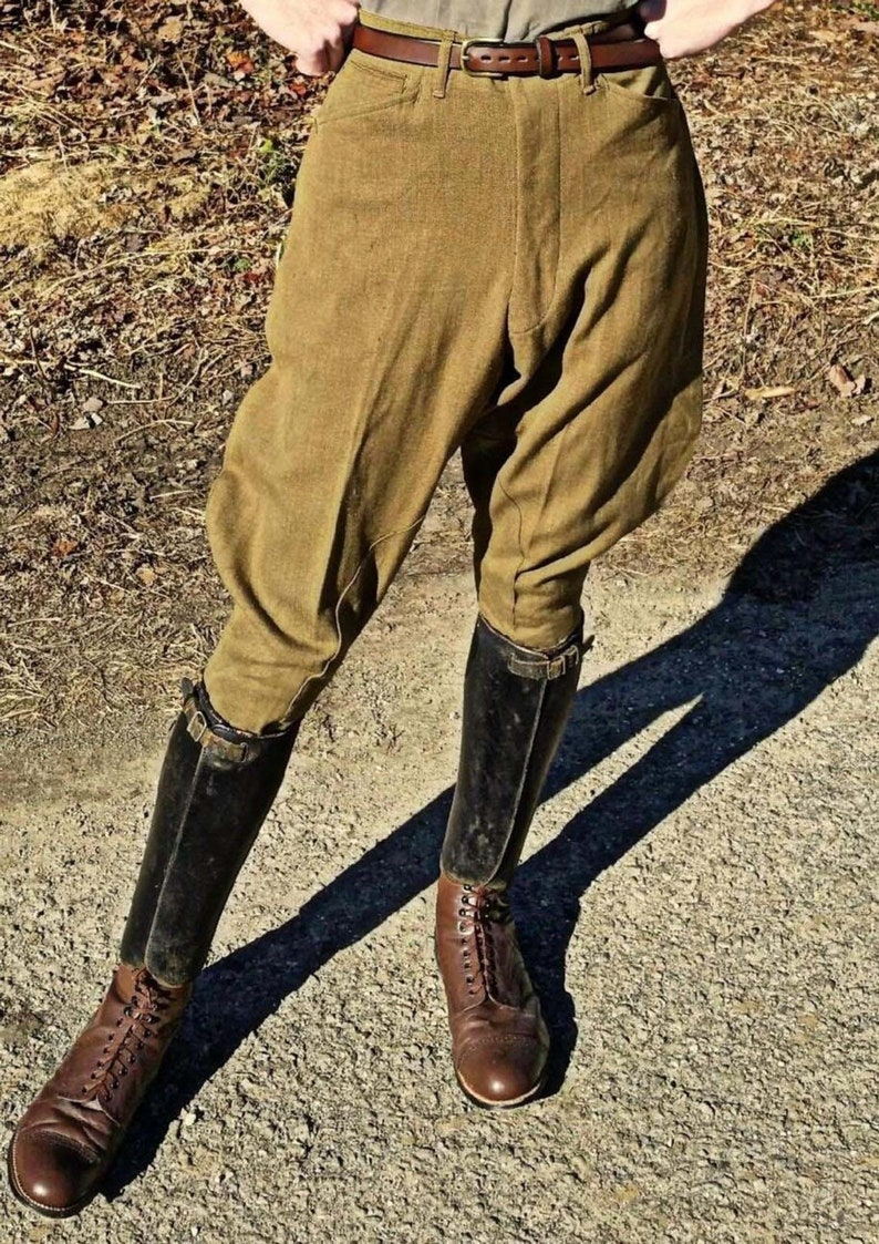 1940s Swing Pants & Sailor Trousers- Wide Leg, High Waist Classic Hunter Horse Riding Olive Corduroy Jodhpurs Vintage Equitation Breeches Jodhpurs Pants Knee Patch Polo Soldiers Pants Breeches $99.50 AT vintagedancer.com