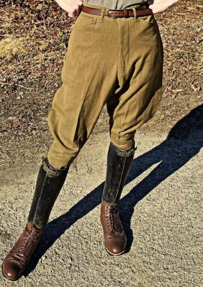 1920s Men's Clothing Classic Hunter Horse Riding Olive Corduroy Jodhpurs Vintage Equitation Breeches Jodhpurs Pants Knee Patch Polo Soldiers Pants Breeches $99.50 AT vintagedancer.com