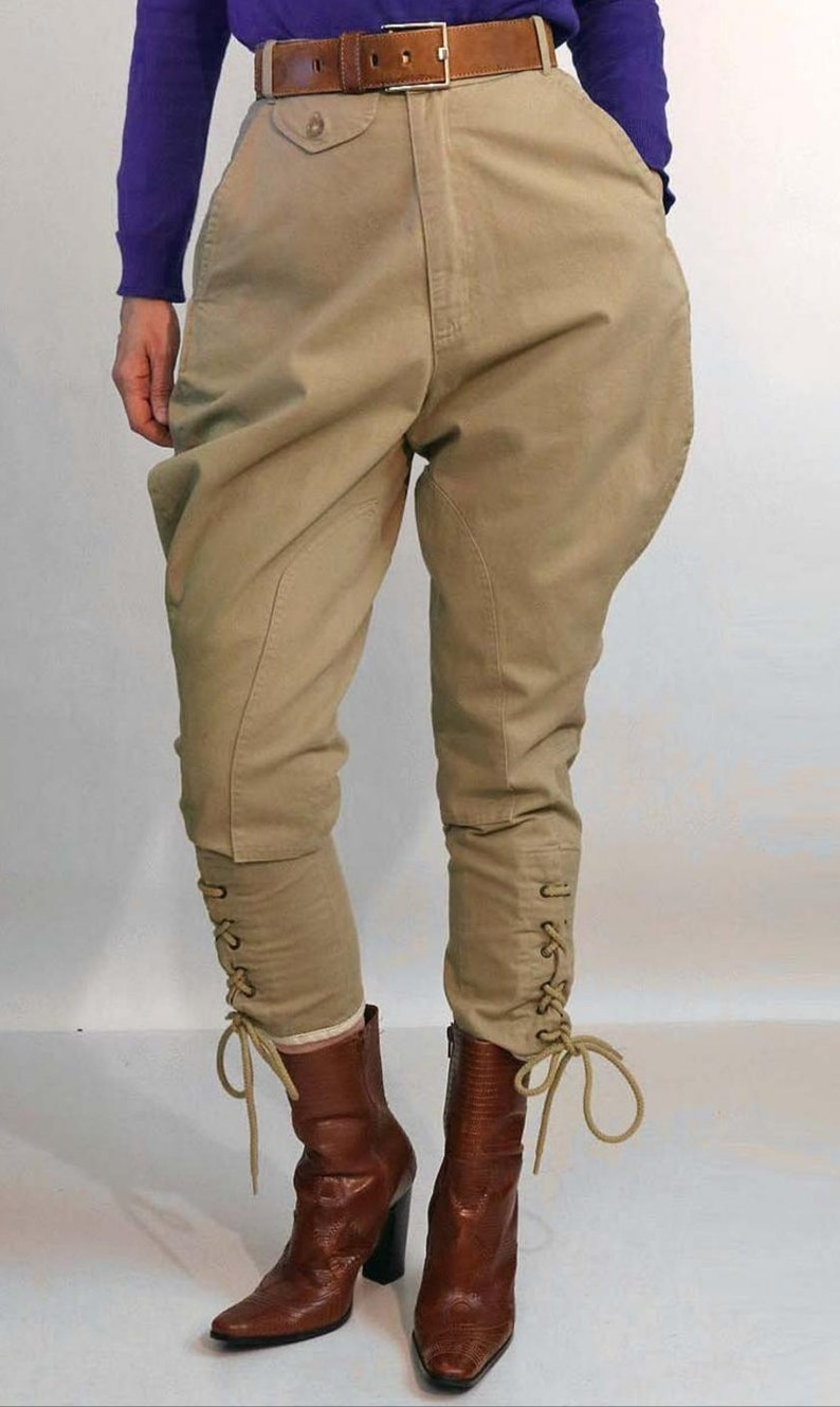 1950s Style Clothing & Fashion Classic Khaki Riding Pants Equestrian Breeches Victorian Polo Pants Ankle Length Lace up Jodhpurs $99.50 AT vintagedancer.com