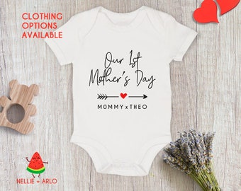 Personalised 1st Mothers Day Baby Grow Body Suit Boy/'s Name Printed for Mum