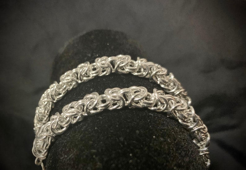 Bright Aluminium Byzantine  Chainmail Bracelet