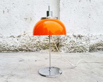 Mid Century Orange Table Lamp / Model Faro / Guzzini / Mushroom Light / Vintage Lighting /Vintage Desk Lamp / Retro / Orange / Italy / '70s