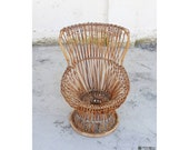 Mid Century Wicker Lounge Chair Model quot Margherita quot Designed by Franco Albini for Bonacina Italian Design 1950 Made in Italy 39 50s