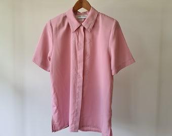 Vintage 1990s oversized smock blouse size UK 1012 pink