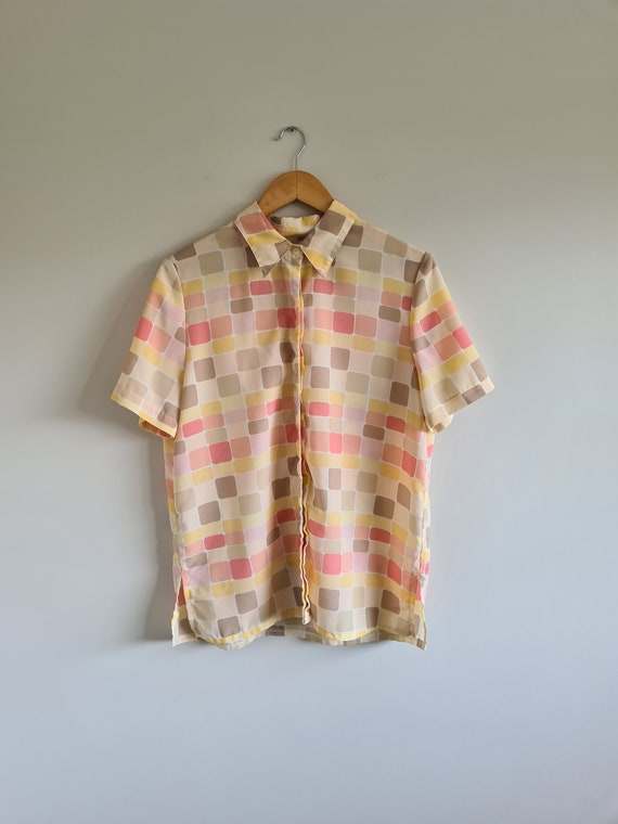 Vintage Abstract Pastel Blouse