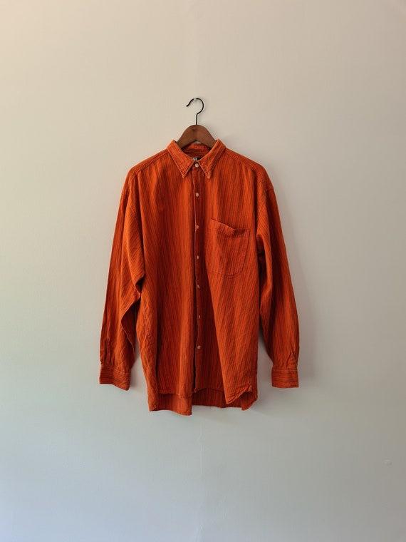Mens Cotton Longsleeve Shirt   orange shirt   Size