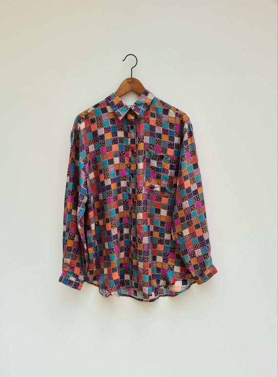 90s Patchwork Silk Blouse | Abstract Blouse | Long