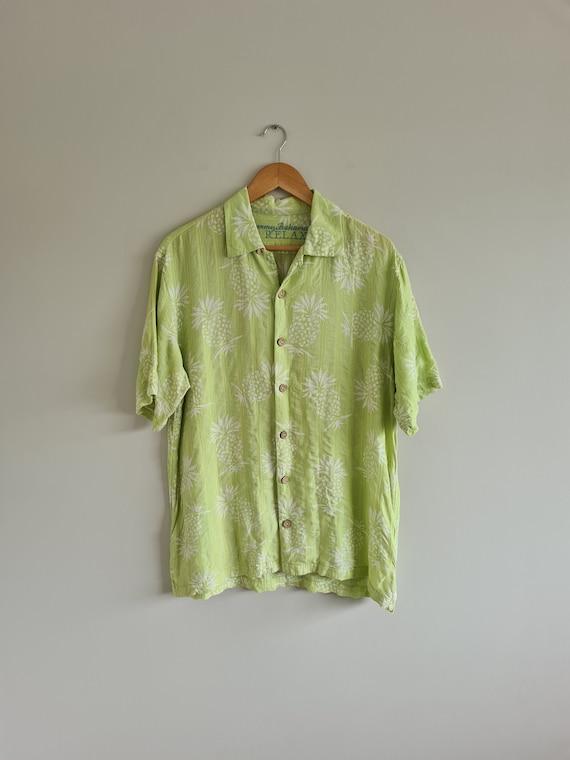 Mens Hawiaan Shirt | Lime green Shirt | Mens Linen
