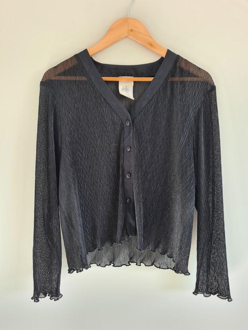 Vintage 00s Womens Black Minimal Blouseshirtsheersize 14 large