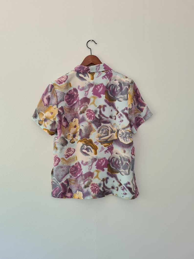 70s Abstract blouse rose pattern Size 12 Medium