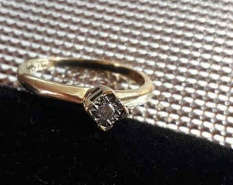 Real Diamond Solitaire Vintage Gold Engagement Ring
